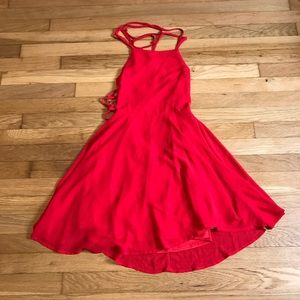 Lulu's Red Lace Up Ladder Back Dress